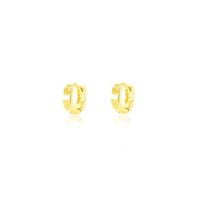 Brinco Folheado Ouro 18K Argola com Detalhes