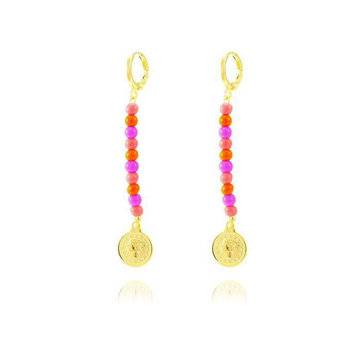 Brinco Folheado Ouro 18K com Miçangas Rosa Neon, M