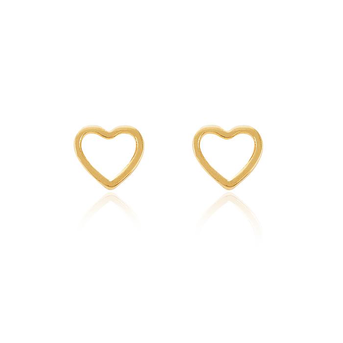 Brinco Folheado Ouro 18K Coração Vazado Médio