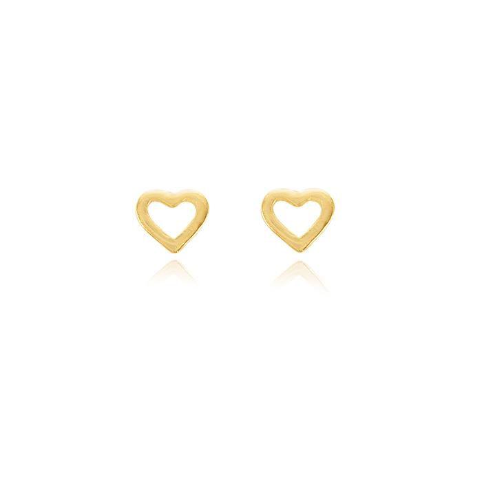 Brinco Folheado Ouro 18K Coração Vazado Pequeno