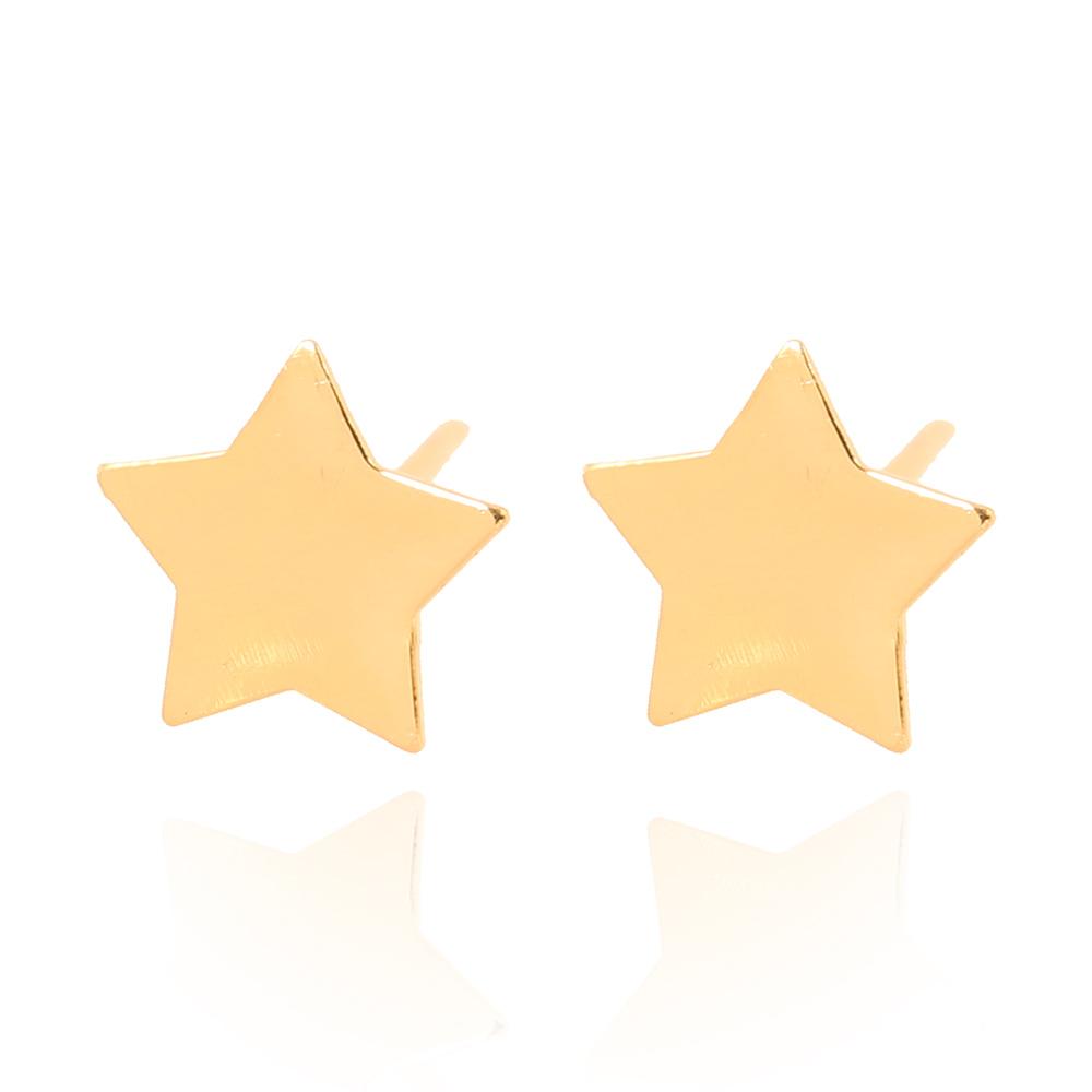 Brinco Folheado Ouro 18K  Estrela Lisa