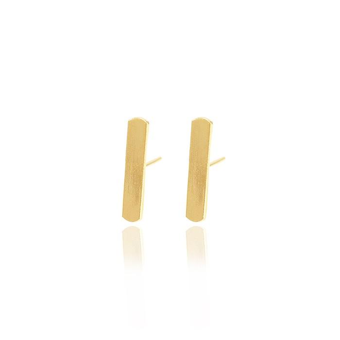 Brinco Folheado Ouro 18K Haste Retangular Liso