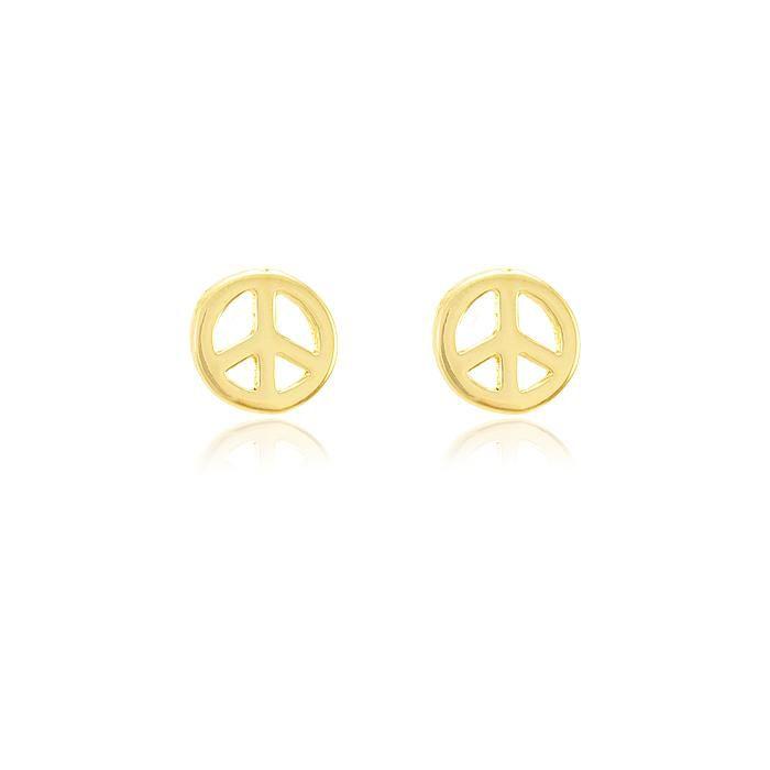 Brinco Folheado Ouro 18K Simbolo da Paz