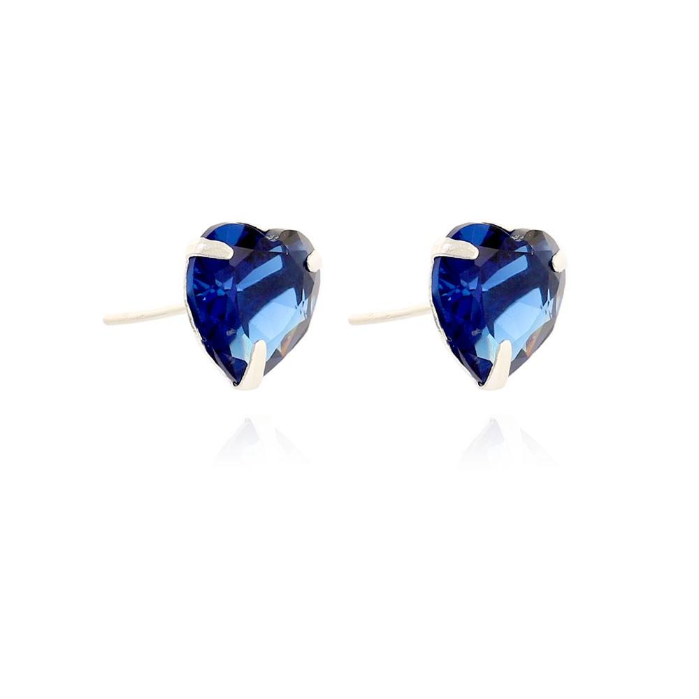 Brinco Folheado Prata Novecentos e Vinte Cinco Coração com Zirconia Azul Marinho