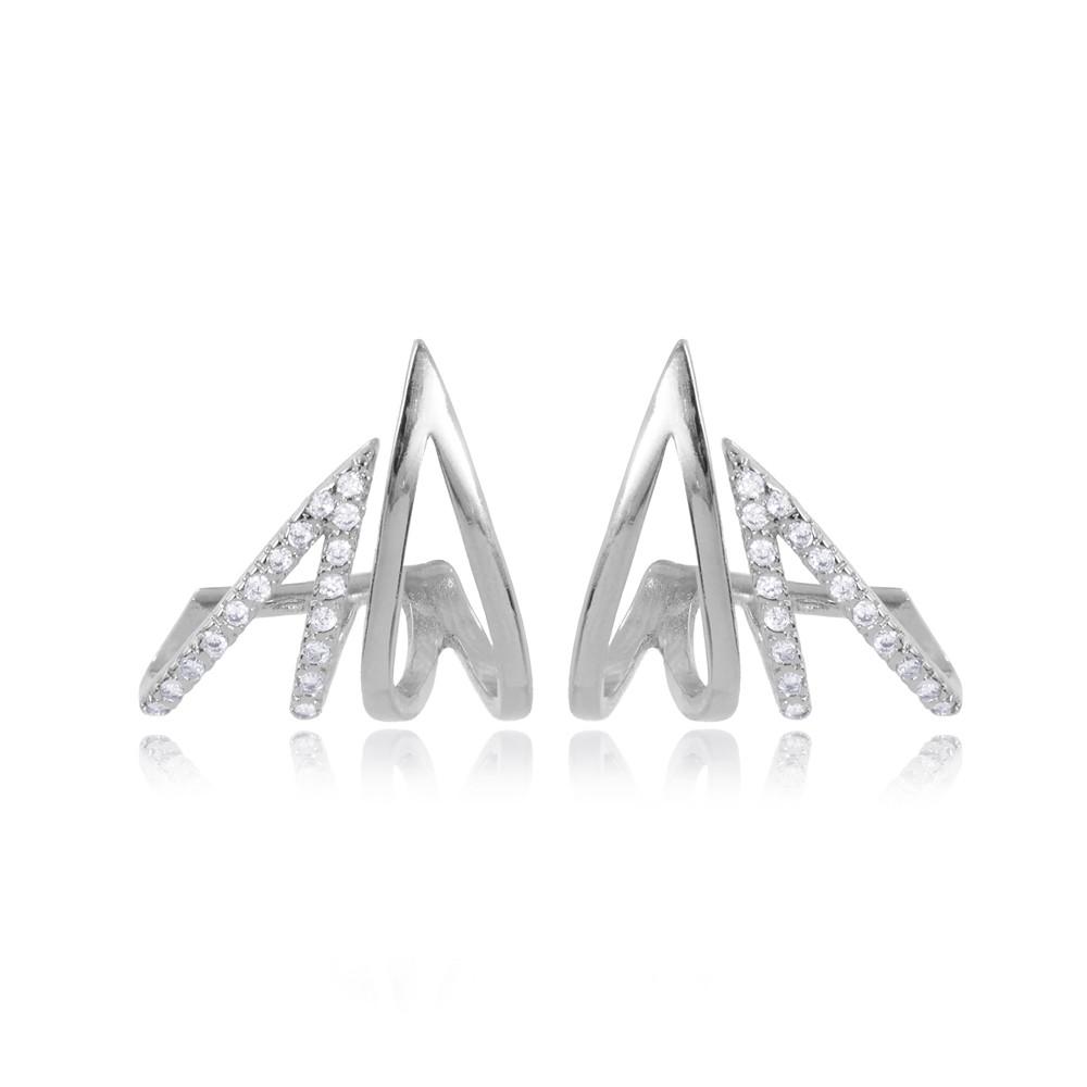 Brinco Folheado Ródio Ear Jacket Dois Triângulos com Micro Zircônia