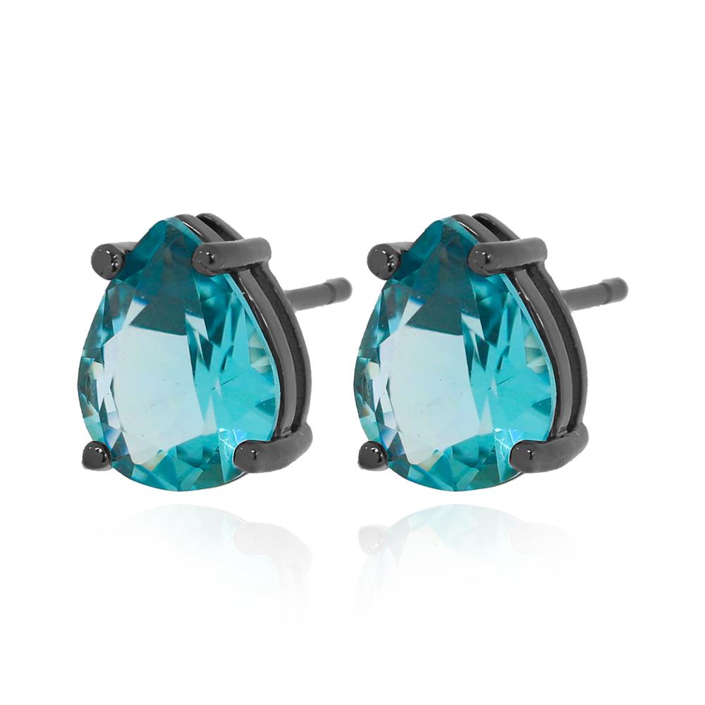 Brinco Gota Cristal Azul Folheado Ródio Negro