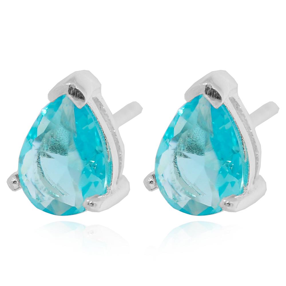 Brinco Prata 925 Gota Cristal Turmalina Azul