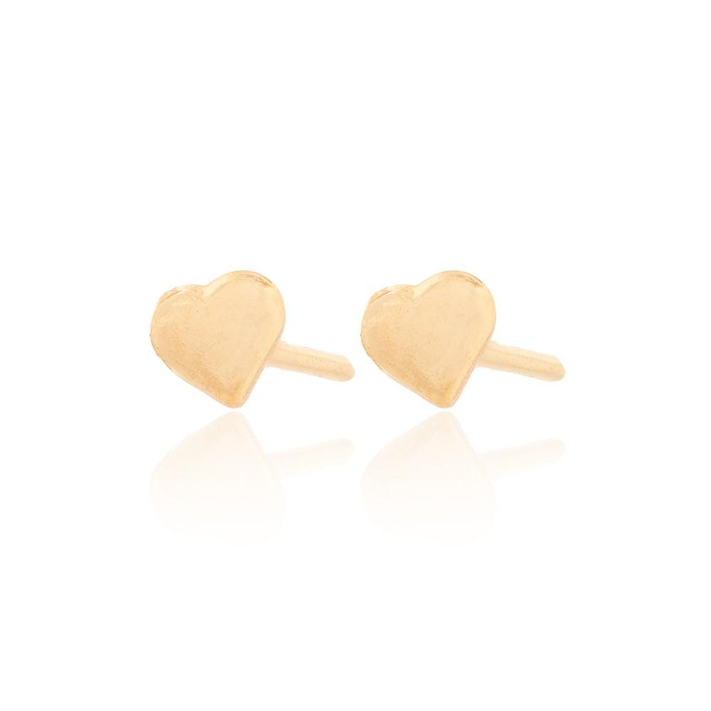 Brinco Infantil Folheado Ouro 18K Coração  Liso