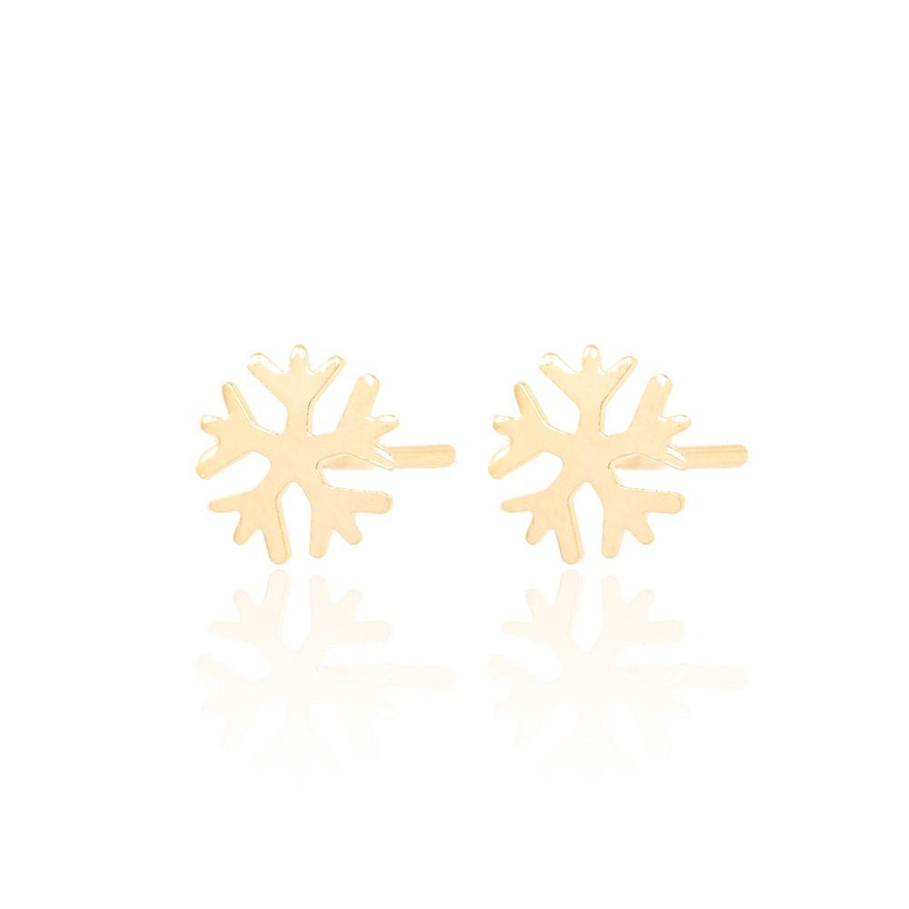 Brinco Infantil Folheado Ouro 18K Floco de Neve Liso