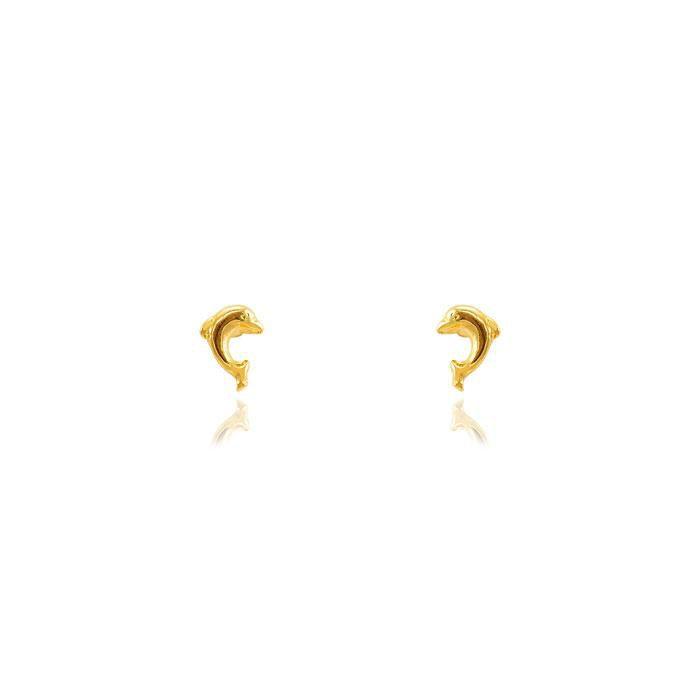Brinco Infantil Folheado Ouro 18K Golfinho Liso