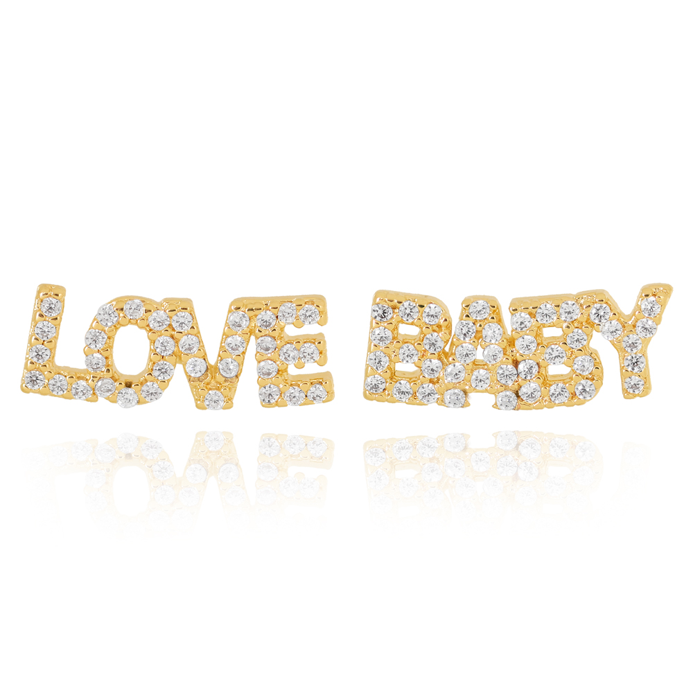 Brinco Love Baby com Zircônia Semijoia Ouro 18K