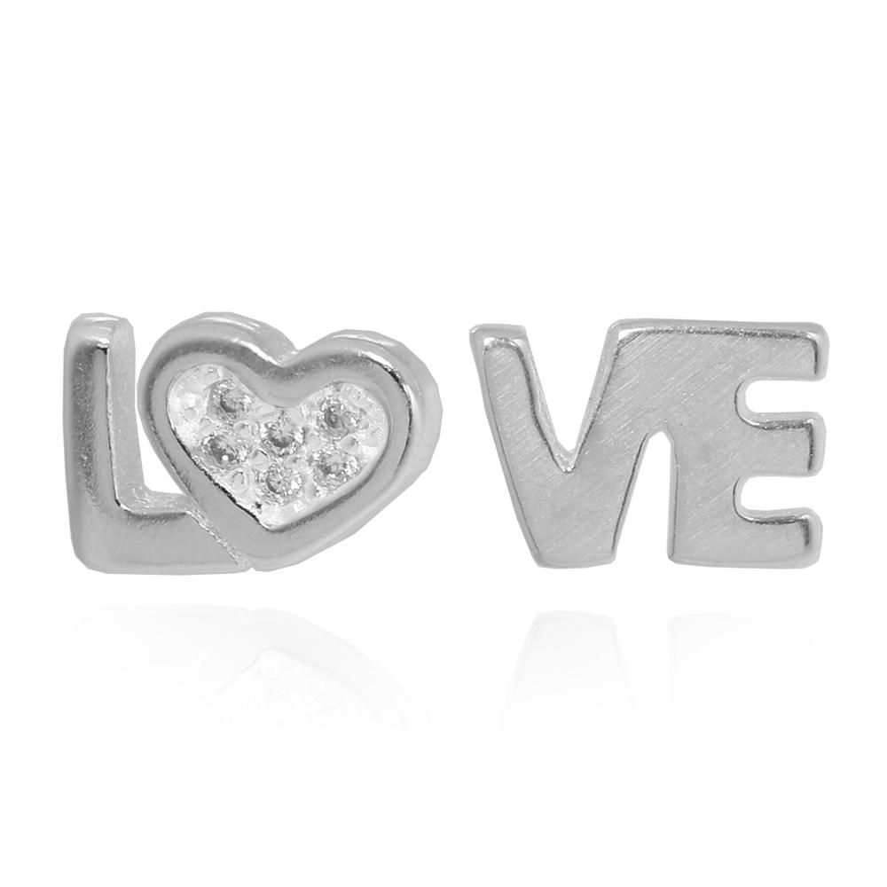 Brinco Love Lados Diferentes Prata 925