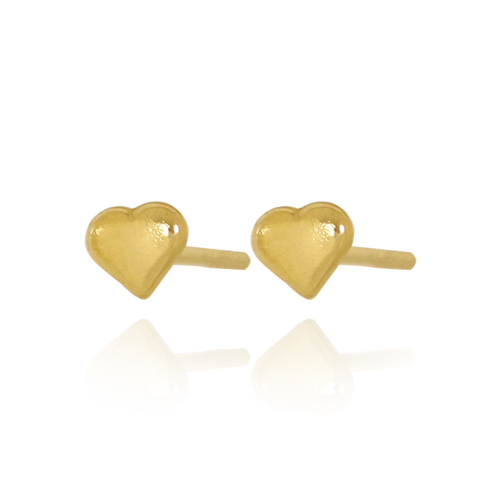 Brinco Mini Coração Liso Folheado Ouro 18K