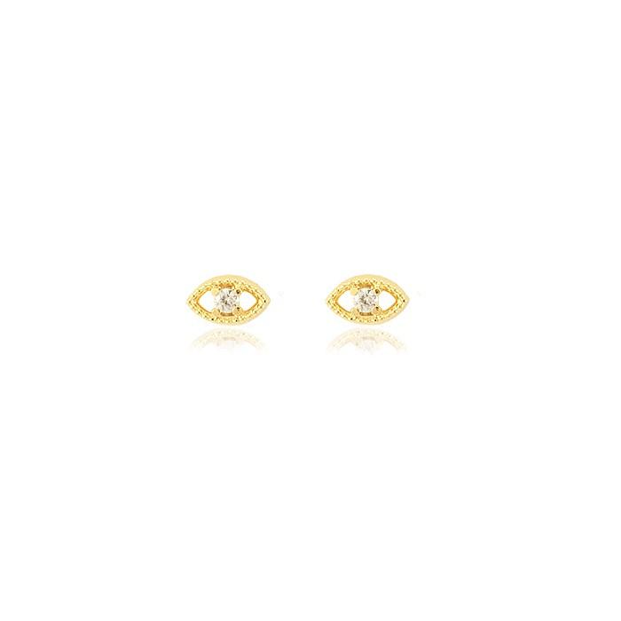 Brinco Oval Folheado Ouro 18K com Zircônia Cristal