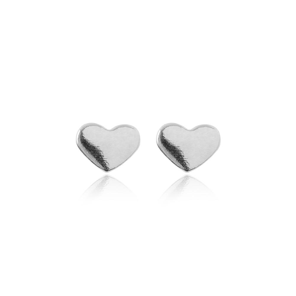 Brinco Prata 925 Coração Liso