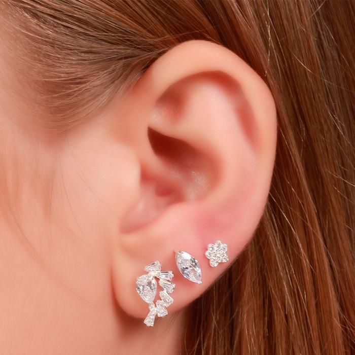 Brinco Prata 925 Ear Cuff com Zircônia Gota e Baguetes