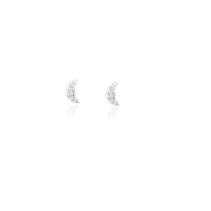 Brinco Prata 925 Lua Micro Zircônia