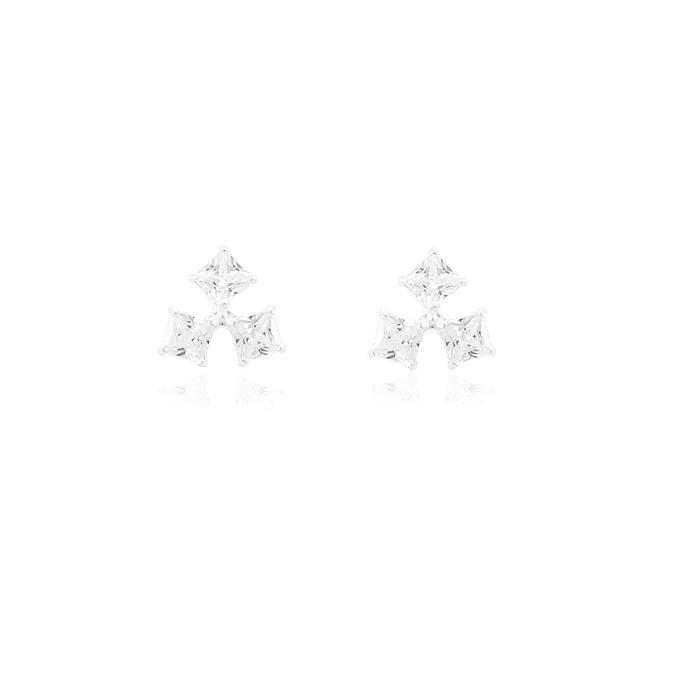 Brinco Prata 925 Triangular com 3 Zircônias Quadra