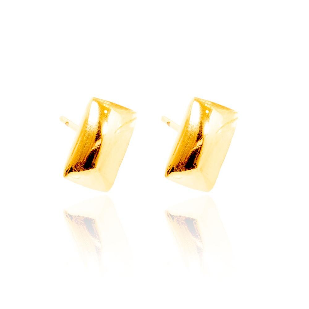 Brinco Retangular Folheado Ouro 18K