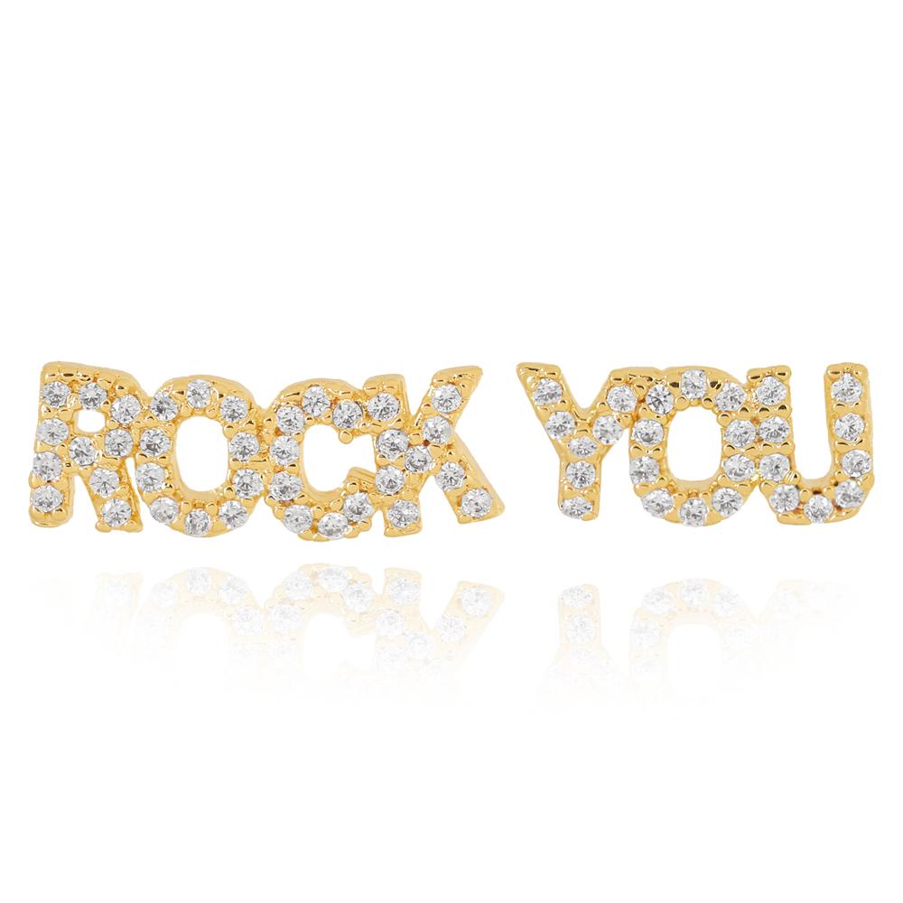 Brinco Rock You com Zircônia Semijoia Ouro 18K