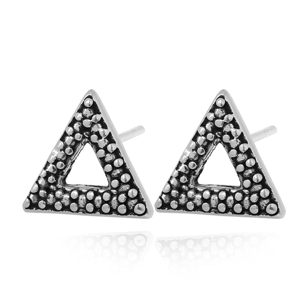 Brinco Triangulo com Detalhes Prata 925