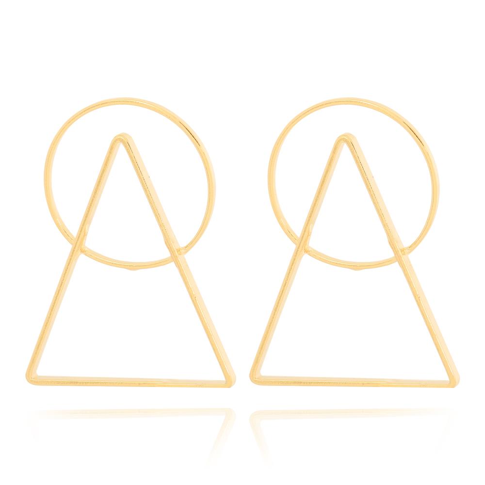 Brinco Triangulo e Círculo Vazado Semijoia Ouro 18K