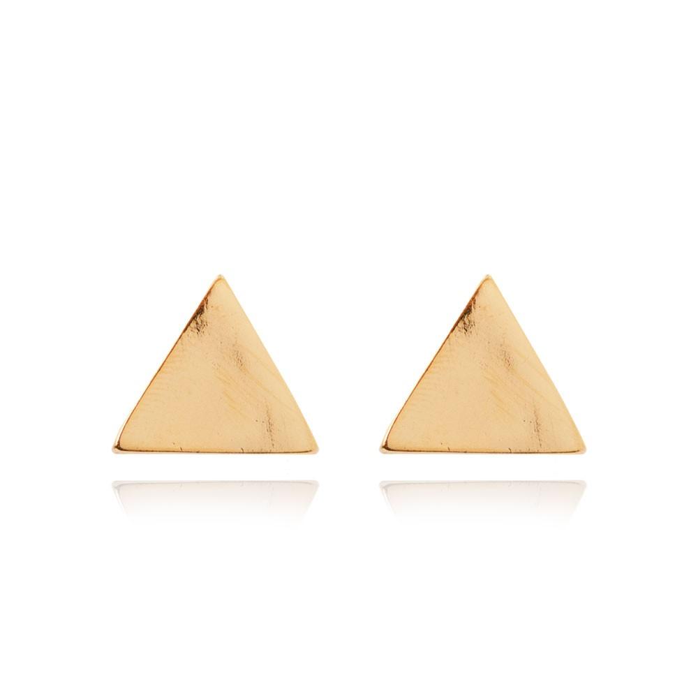 Brinco Triangulo Folheado Ouro 18K Liso