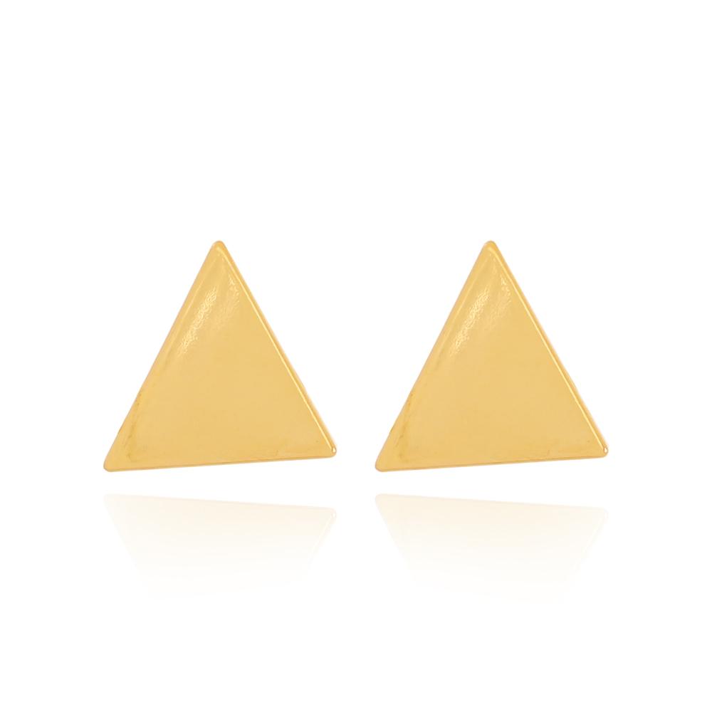Brinco Triangulo Liso Pequeno Semijoia Ouro 18K