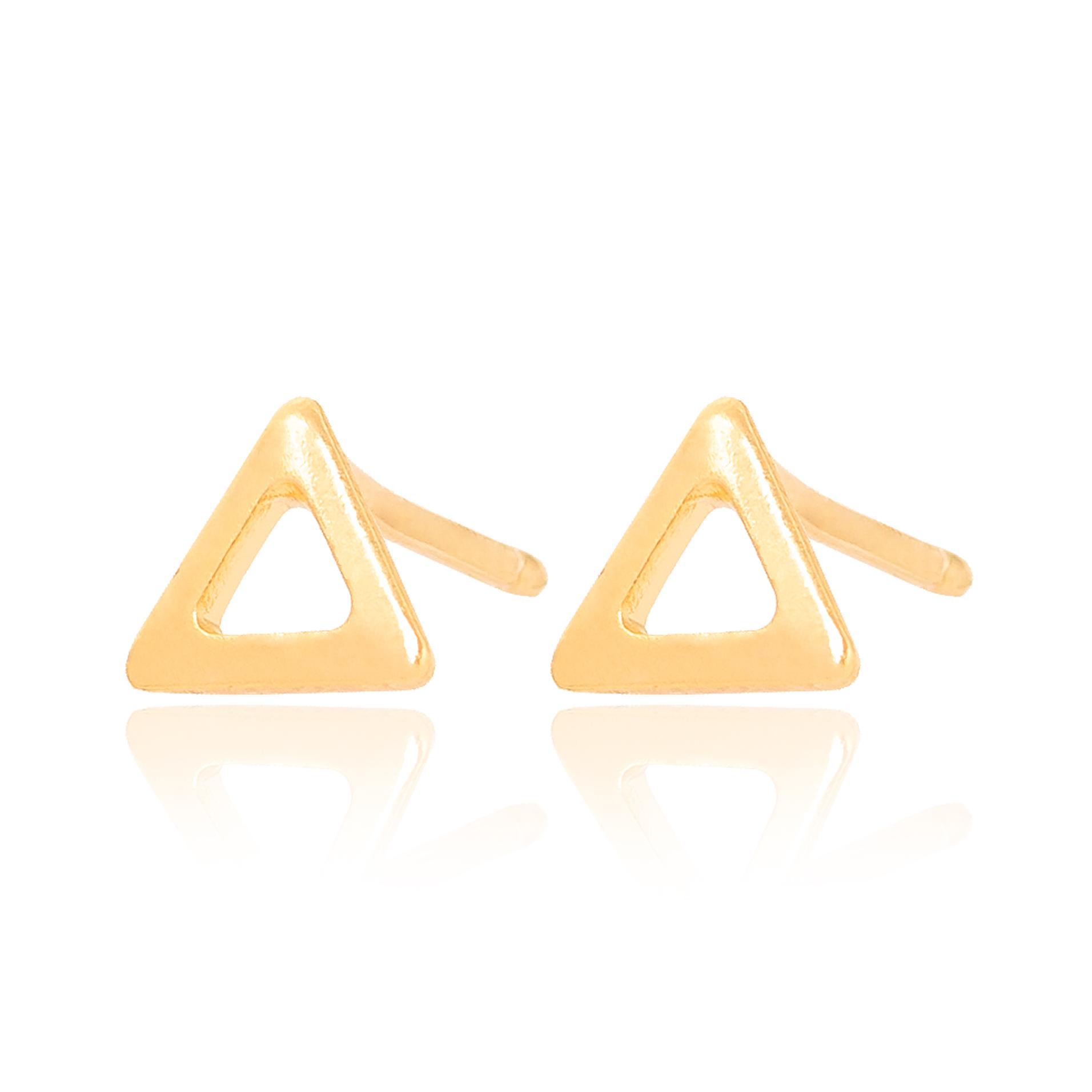 Brinco Triangulo Vazado Liso Folheado Ouro 18K