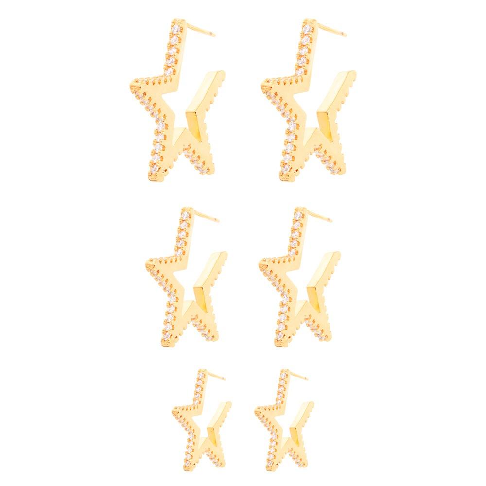 Brinco Trio De Estrelas Folheado Ouro 18K com Micro Zircônia