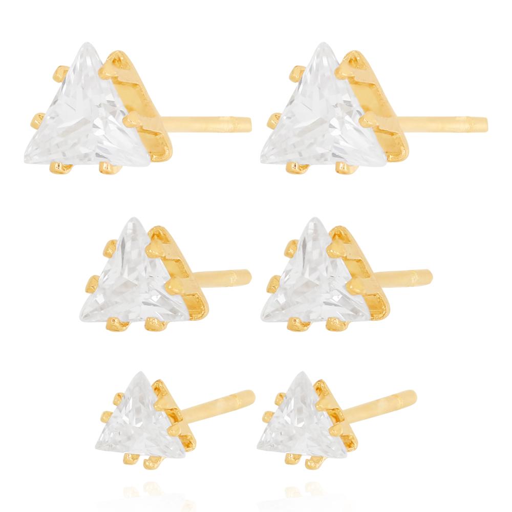 Brinco Trio Triangulo Zircônia Cristal Semijoia Ouro 18K