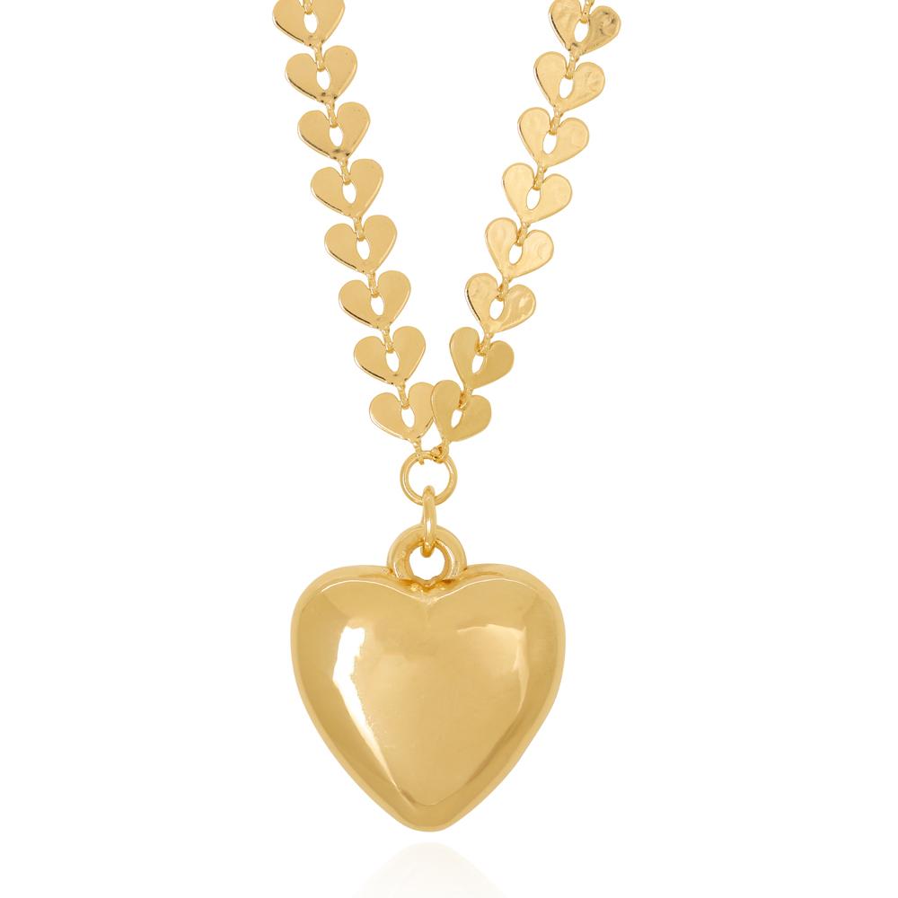 Colar Chapa Corações Lisos com Pingente Coração Semijoia Ouro 18K