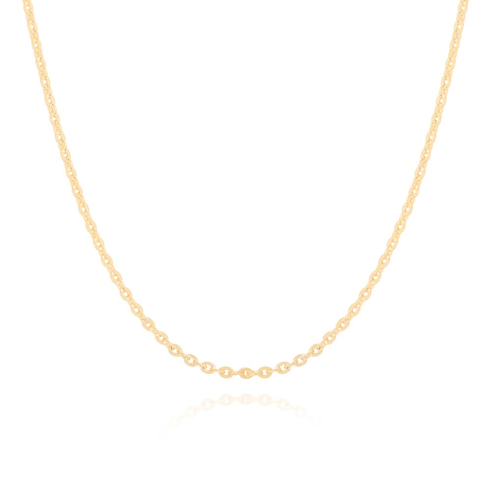 Colar Choker Corrente Cadeadinho Diamantada Semijoia Ouro 18K
