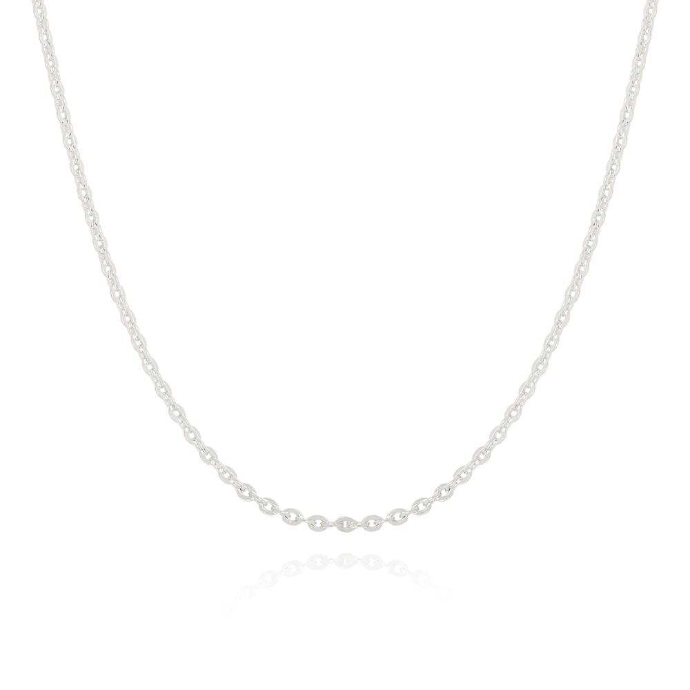 Colar Choker Corrente Cadeadinho Diamantada Semijoia Ródio