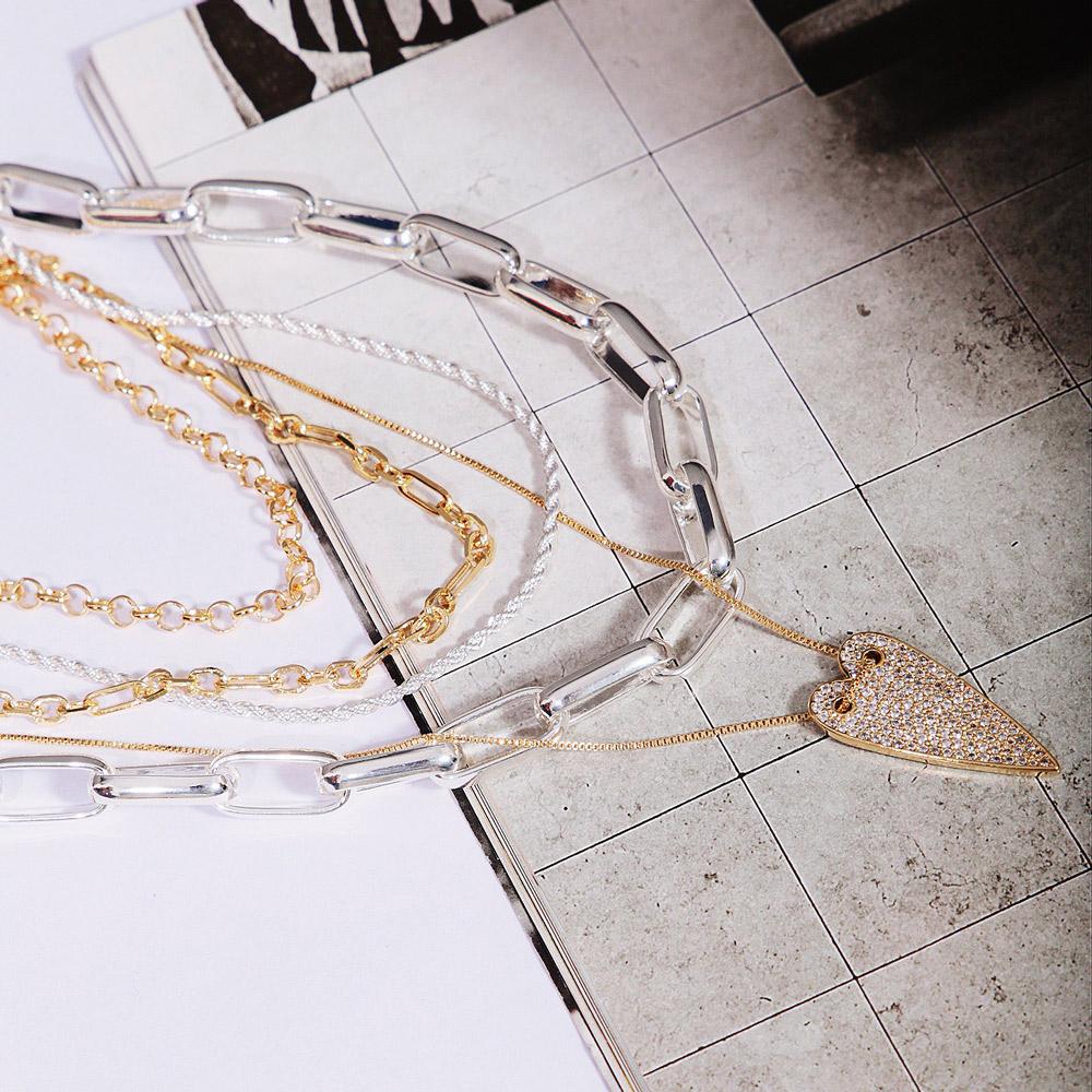 Colar Choker Elo Retangular e Três Elos Ovais Intercalados Semijoia Ouro 18K