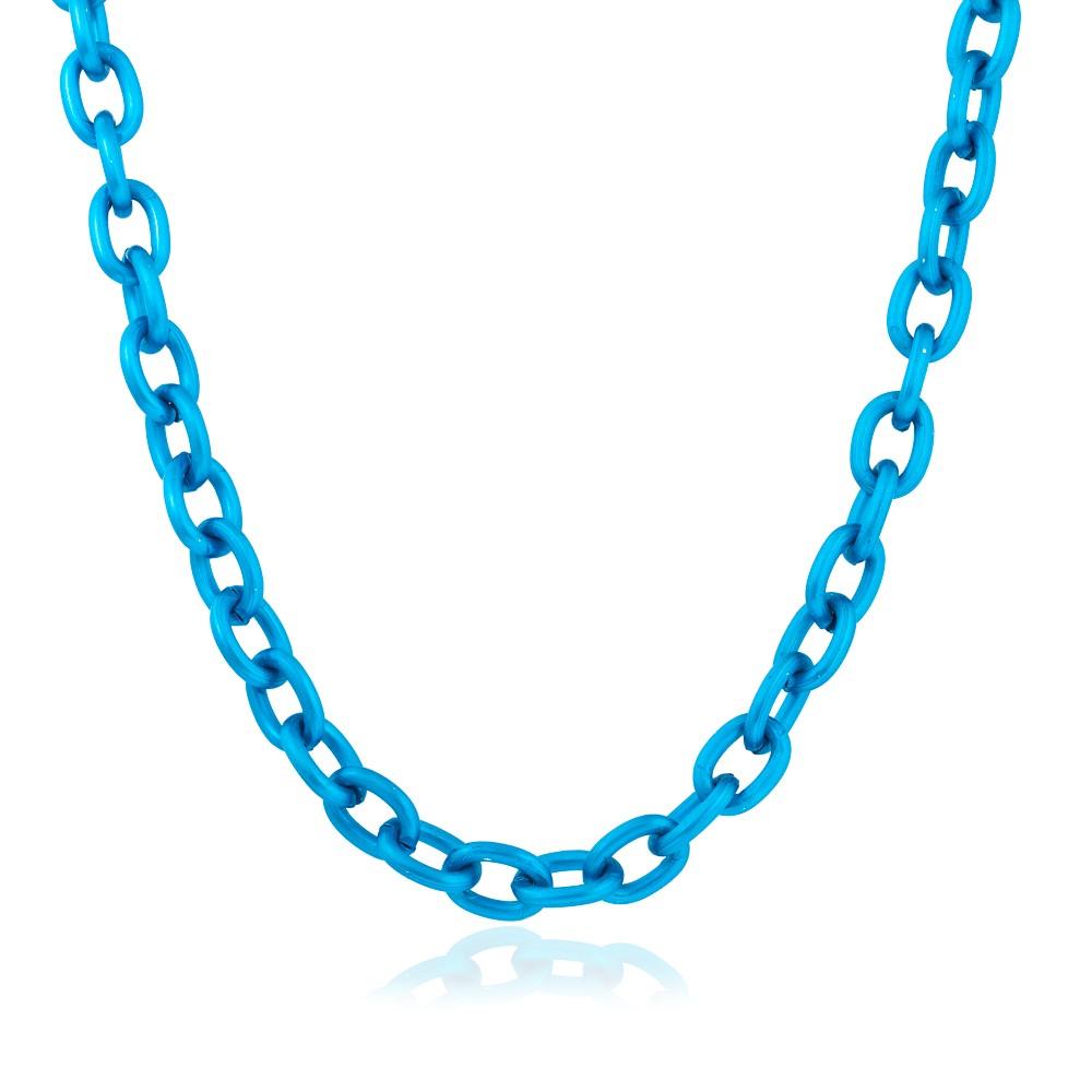 Colar Choker Elos Folheado Stell Free Azul Metalizado