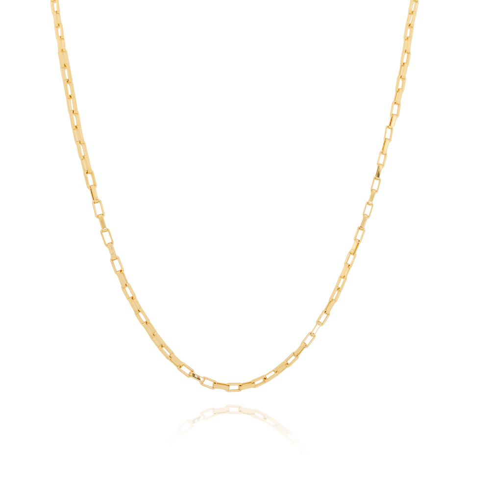 Colar Choker Elos Retangulares Pequenos Semijoia Ouro 18K