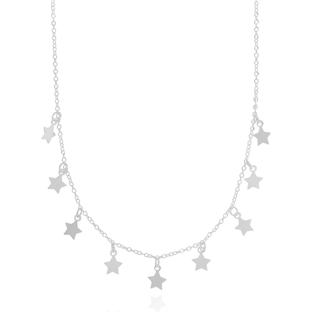 Colar Choker Estrelas Lisas Folheado Prata 925
