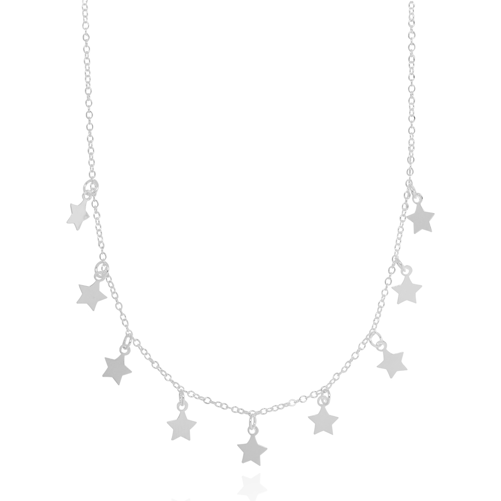 Colar Choker Estrelas Lisas Prata 925