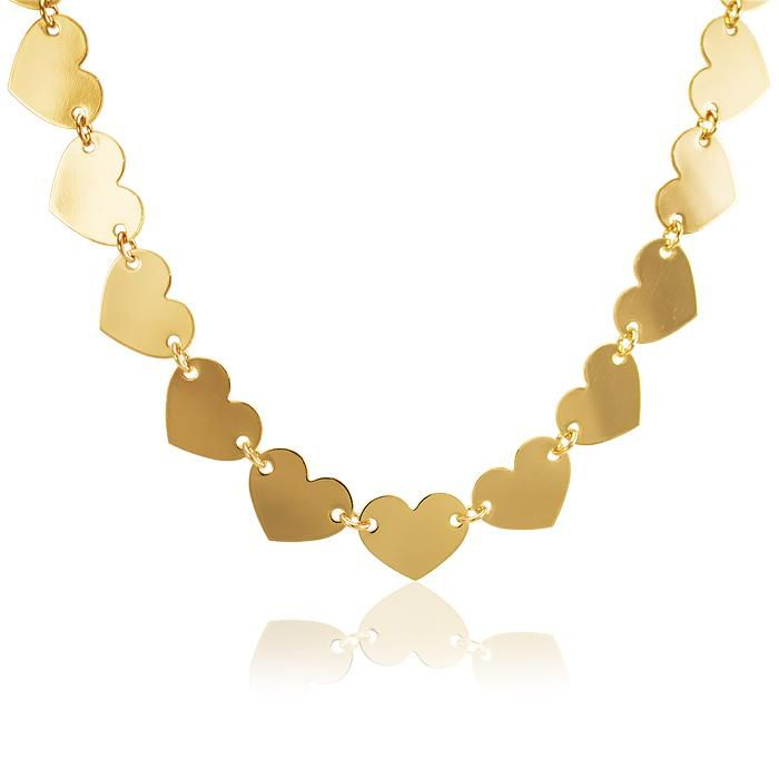 Colar Choker Folheado Ouro 18K Coração