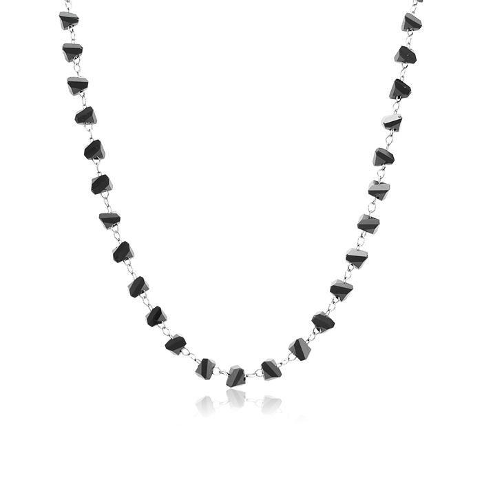 Colar Choker com Miçangas Triangulares Negras Folheado Ródio Negro
