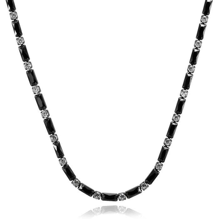 Colar Choker Folheado Ródio Negro Retângulos com Zircônia Negra e Pontos de Luz Cristal