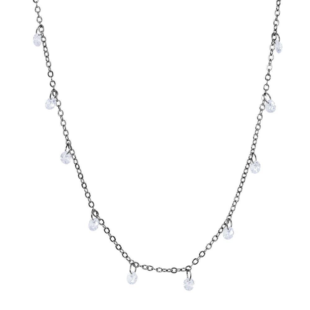 Colar Choker Folheado Ródio Negro  Tiffany Pendurados Cristal