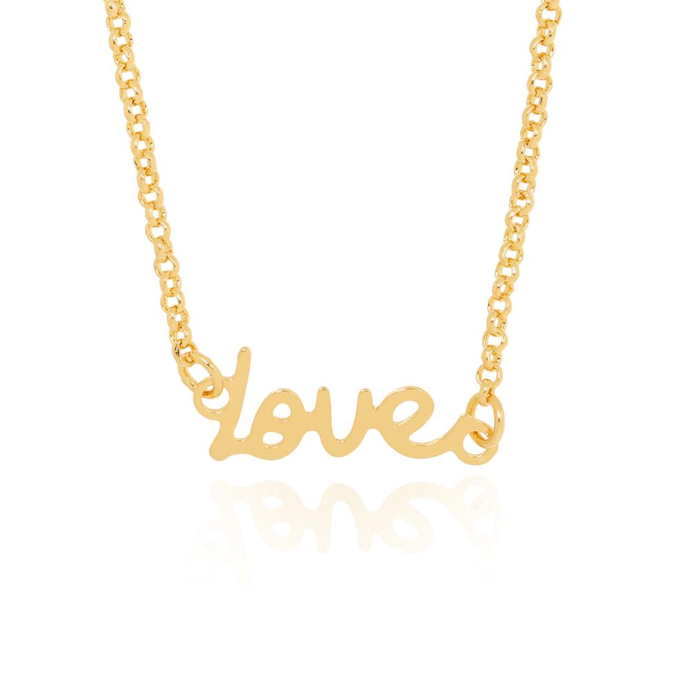 Colar Choker Love Folheado Ouro 18K