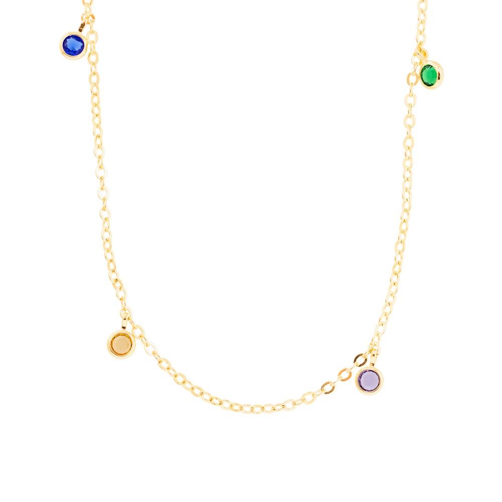 Colar Choker  Tiffany Colorida Folheado Ouro 18K