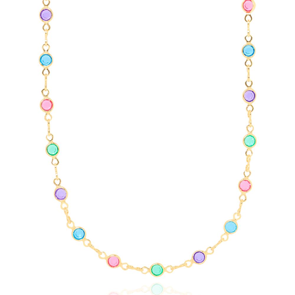 Colar Choker Tiffany Cristais Coloridos Folheado Ouro 18K