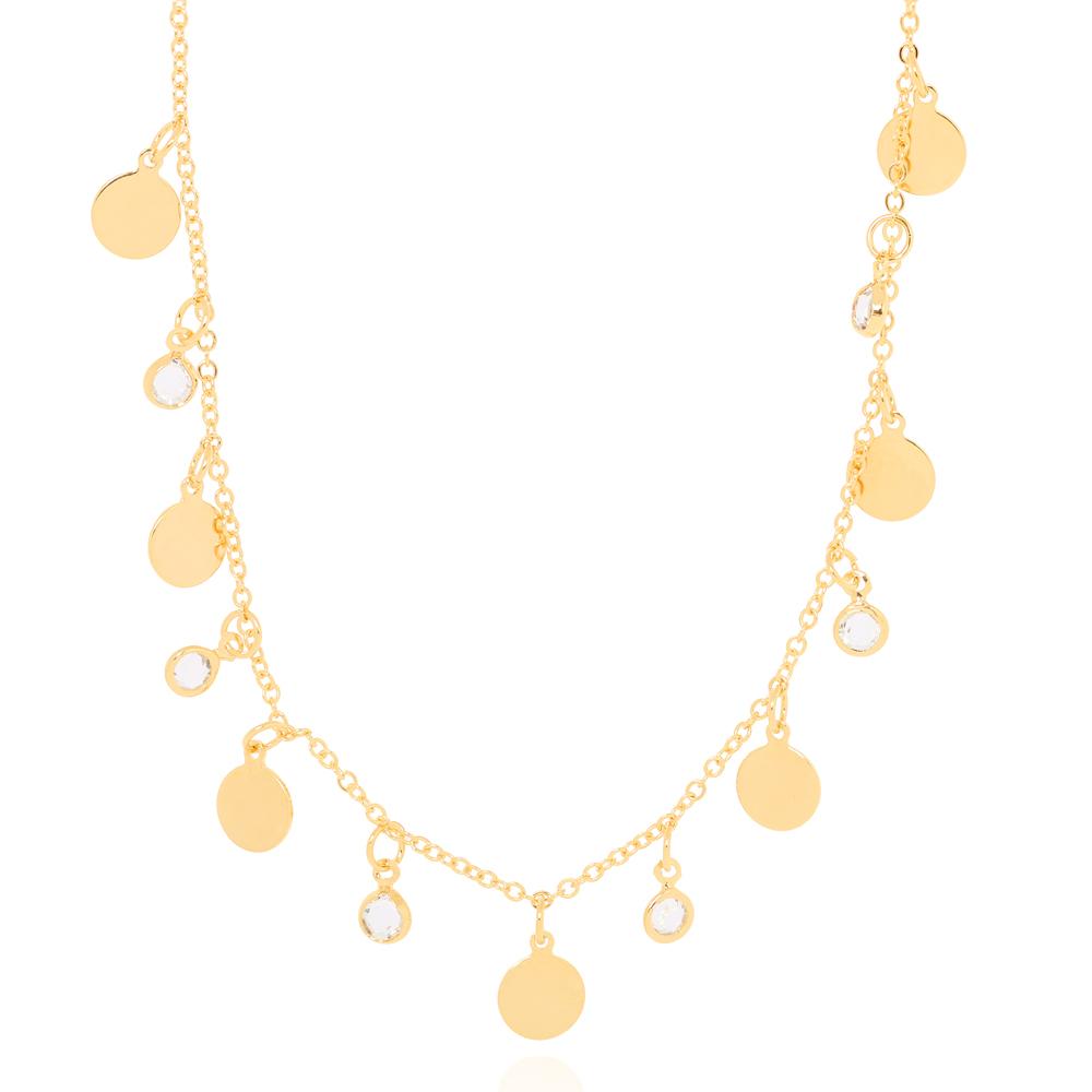 Colar Choker Tiffany Cristal com Chapinhas Redondas Lisas Folheado Ouro 18K