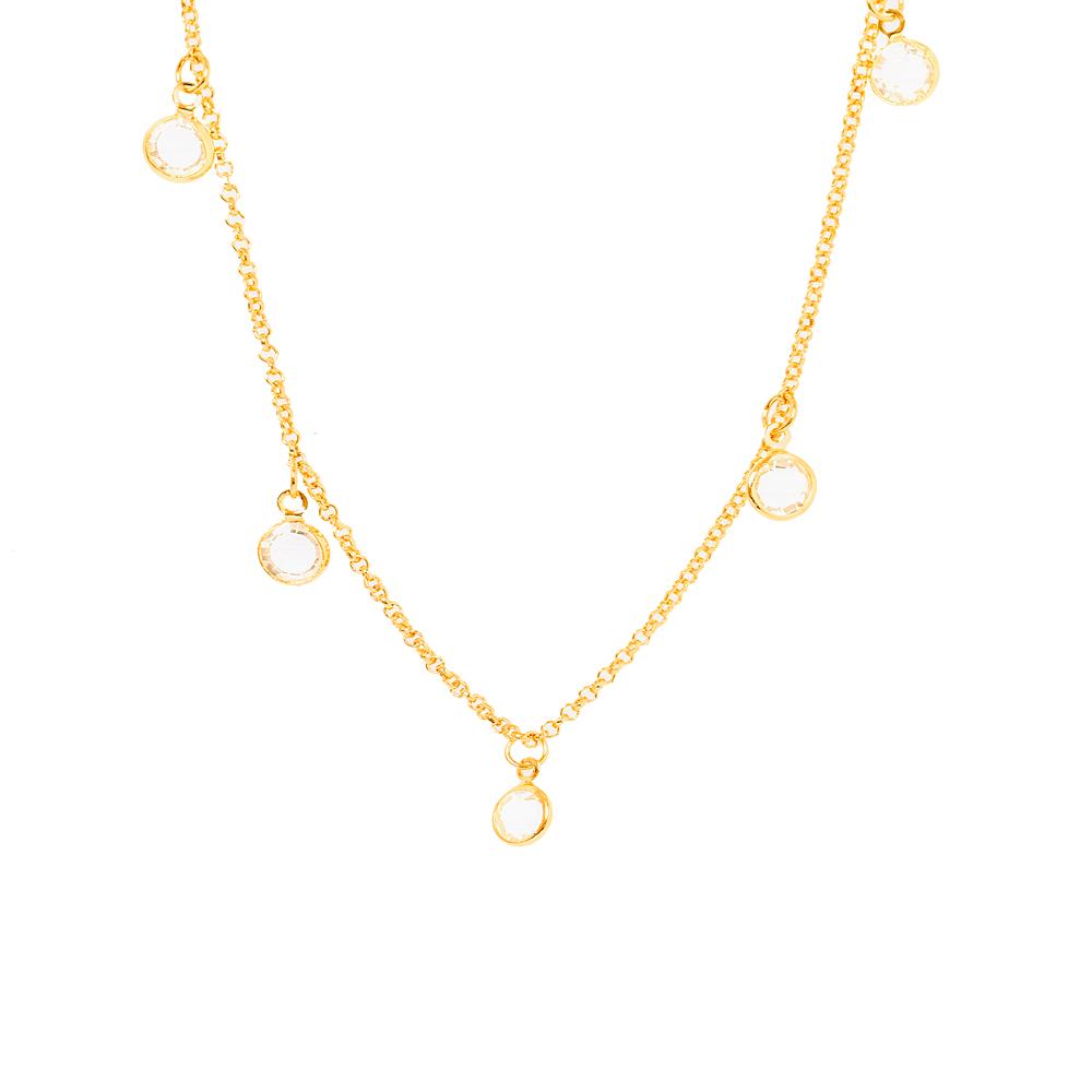 Colar Choker Tiffany Cristal Folheado Ouro 18K