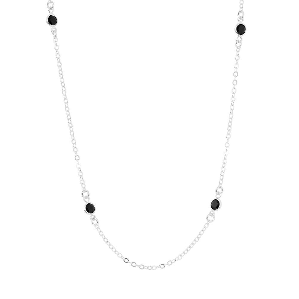 Colar Choker Tiffany Cristal Preto Folheado Ródio Branco