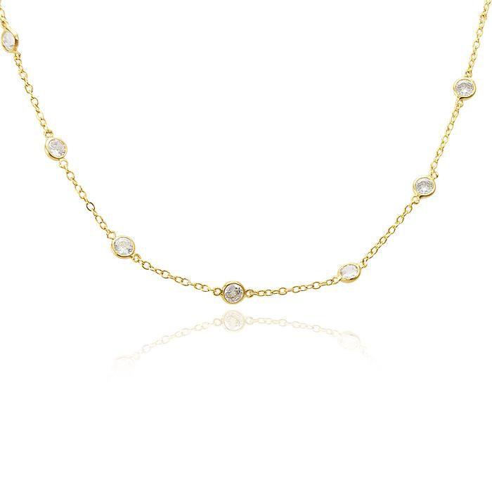 Colar Choker Tiffany Ponto de Luz Folheado Ouro 18K